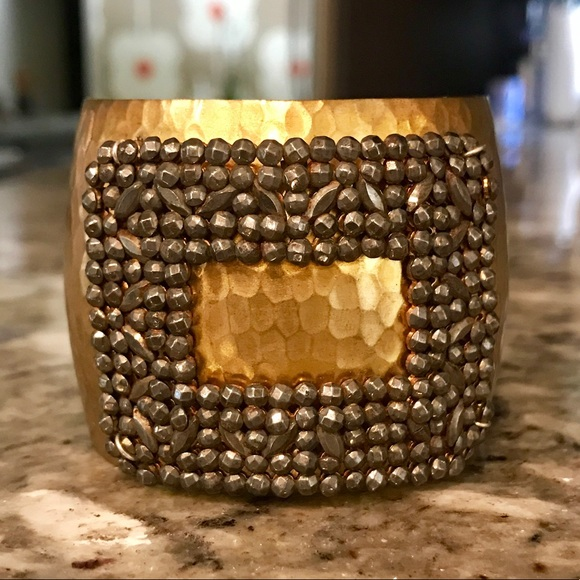 Vintage Jewelry - Gold Cuff Bracelet with Vintage Rhinestone Buckle